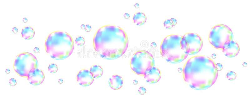 与彩虹反射的五颜六色的肥皂泡 库存例证