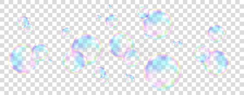 与彩虹反射的五颜六色的肥皂泡 皇族释放例证