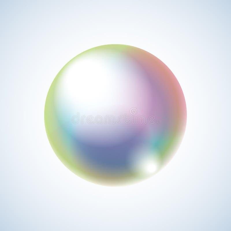 与彩虹反射的现实肥皂泡 在背景的被隔绝的传染媒介 与梯度和作用的例证 库存照片