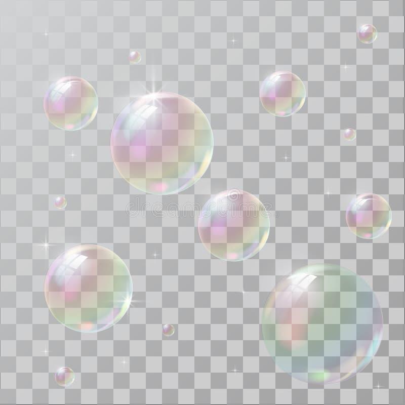 与彩虹反射的现实肥皂泡 皇族释放例证