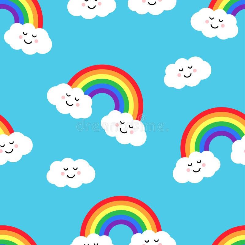 与彩虹和云彩的无缝的样式 也corel凹道例证向量 皇族释放例证