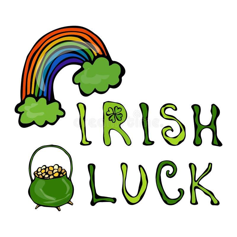 与彩虹和金壶的爱尔兰运气商标 在三叶草圈子框架  分级显示 印刷设计为圣帕特里克天 Savoyar 皇族释放例证
