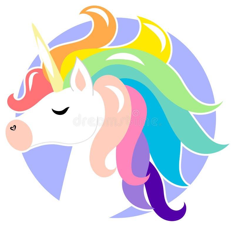与彩虹头发的逗人喜爱的面孔独角兽 r 儿童卡片的,T恤杉设计 女孩,孩子 向量例证