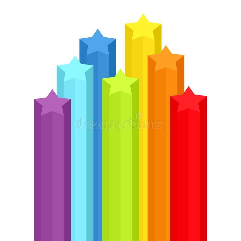 与彩虹星形的背景 向量例证