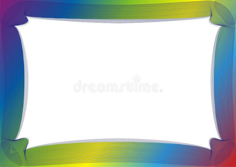 与彩虹框架的证明或文凭模板 库存例证
