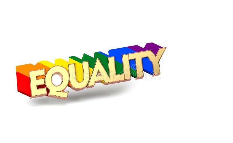 与彩虹概述的金黄平等词 LGBT平等标志概念 隔绝在与拷贝空间的白色背景 3d 向量例证