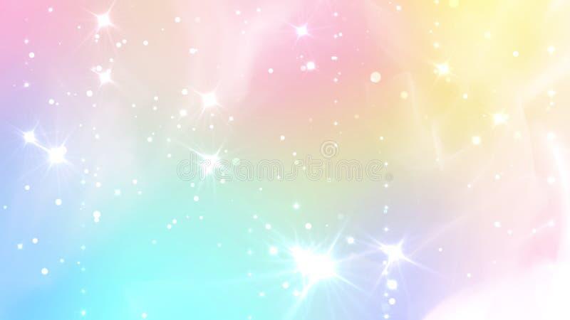 与彩虹滤网的摘要淡色神仙的背景 Kawaii在公主颜色的宇宙横幅 幻想梯度背景与 向量例证