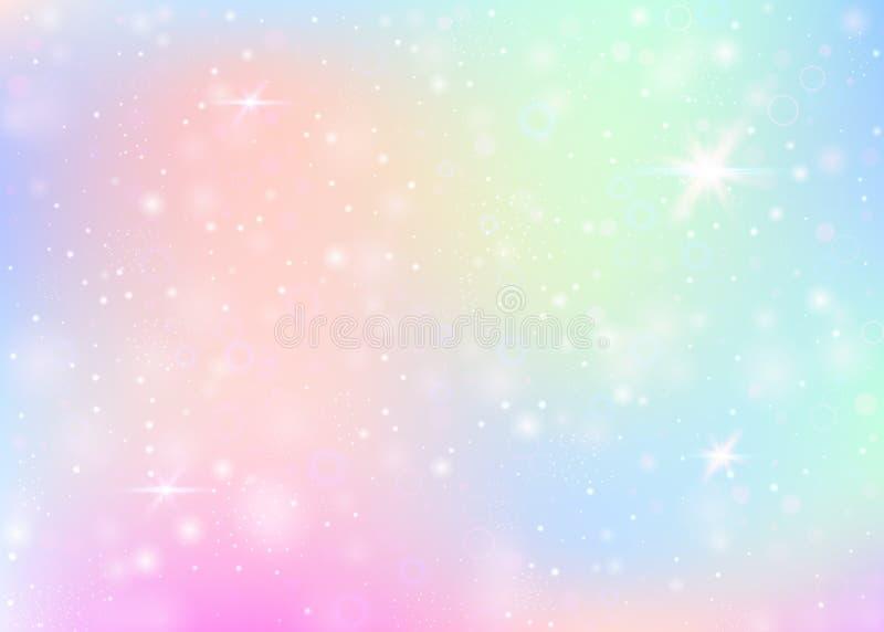 与彩虹滤网的独角兽背景 免版税库存照片