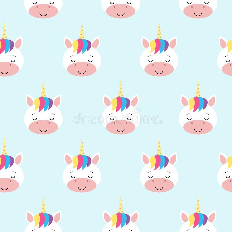 与彩虹独角兽的传染媒介无缝的样式 背景看板卡祝贺邀请 Kawaii 向量例证