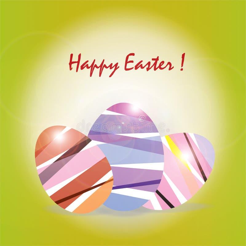 与彩虹的复活节卡片上色复活节彩蛋 向量例证