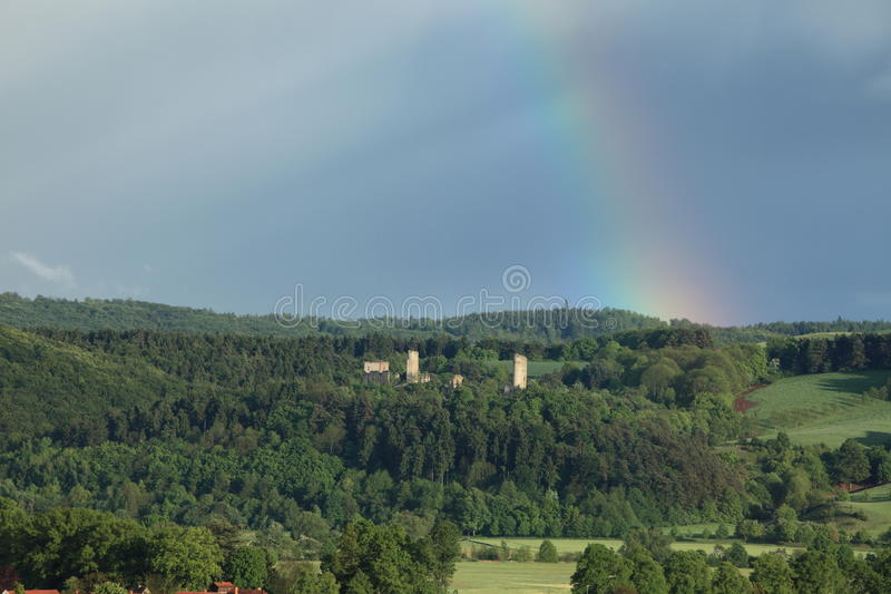 与彩虹的废墟勃兰登堡 库存照片