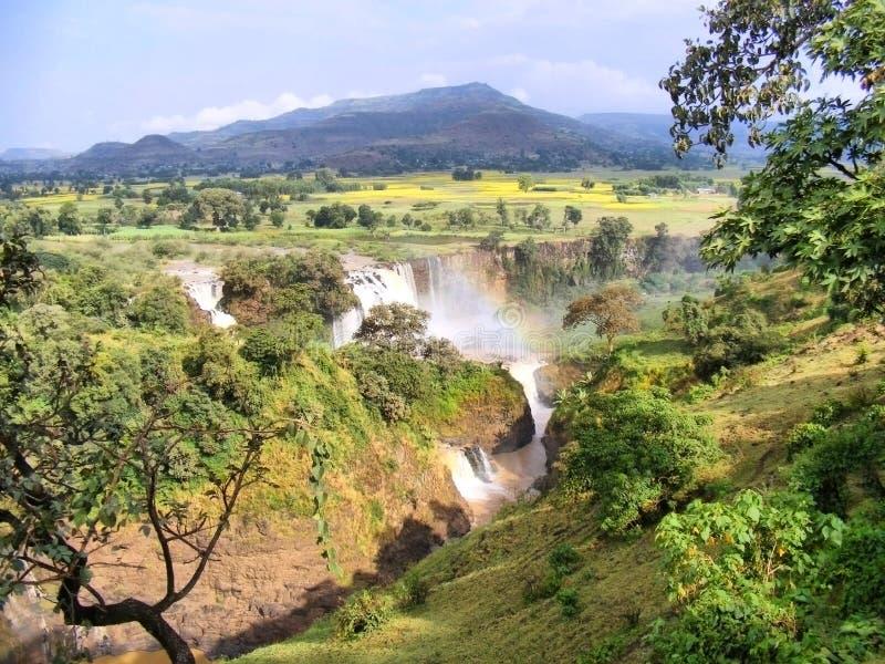 与彩虹的惊人的瀑布 免版税库存照片
