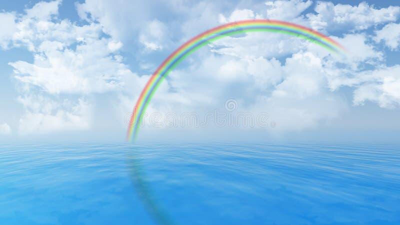 与彩虹的蓝色海洋风景 皇族释放例证