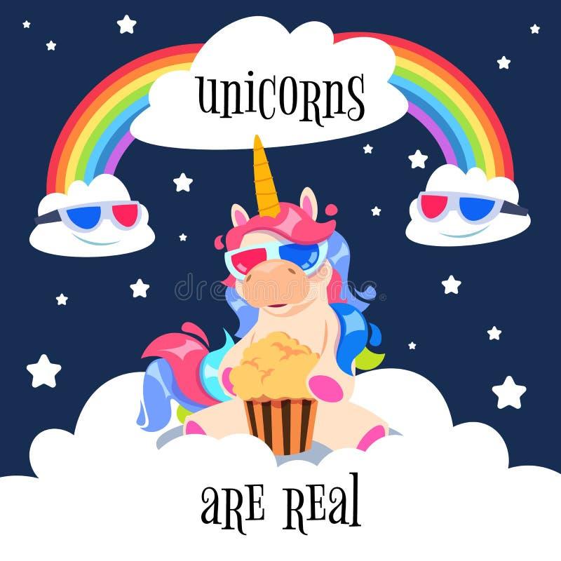 与彩虹的逗人喜爱的不可思议的独角兽 在云彩的幻想小马 动画片独角兽墙纸传染媒介设计 向量例证