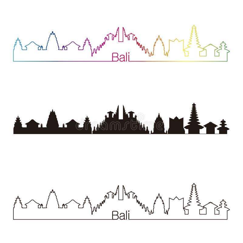 与彩虹的巴厘岛地平线线性样式 皇族释放例证