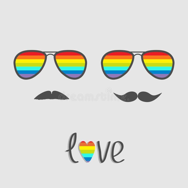 与彩虹透镜和髭的两块玻璃 库存例证