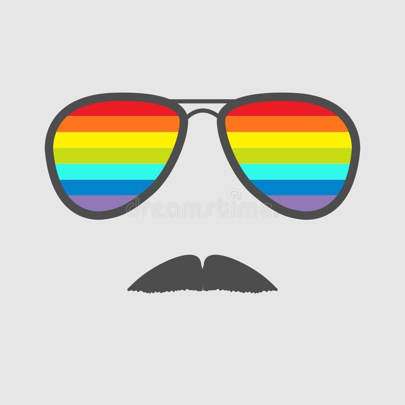 与彩虹透镜和髭的玻璃。象。 向量例证