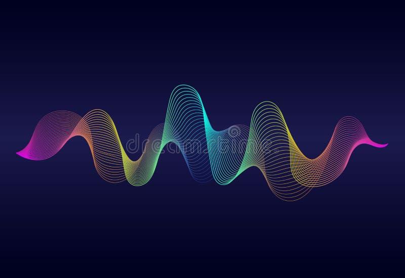 与彩虹颜色的抽象波浪线表面在深蓝背景 梯度线Soundwave  传染媒介数字频率 皇族释放例证