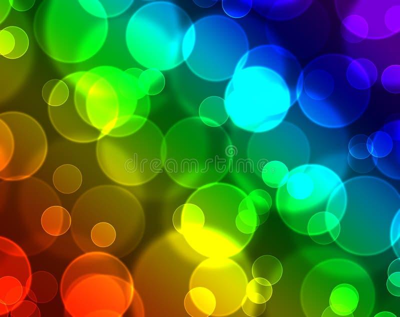 与彩虹speckrum的五颜六色的bokeh 向量例证