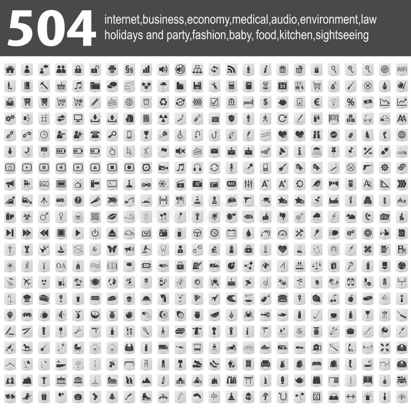 与影子的504个图标 库存例证
