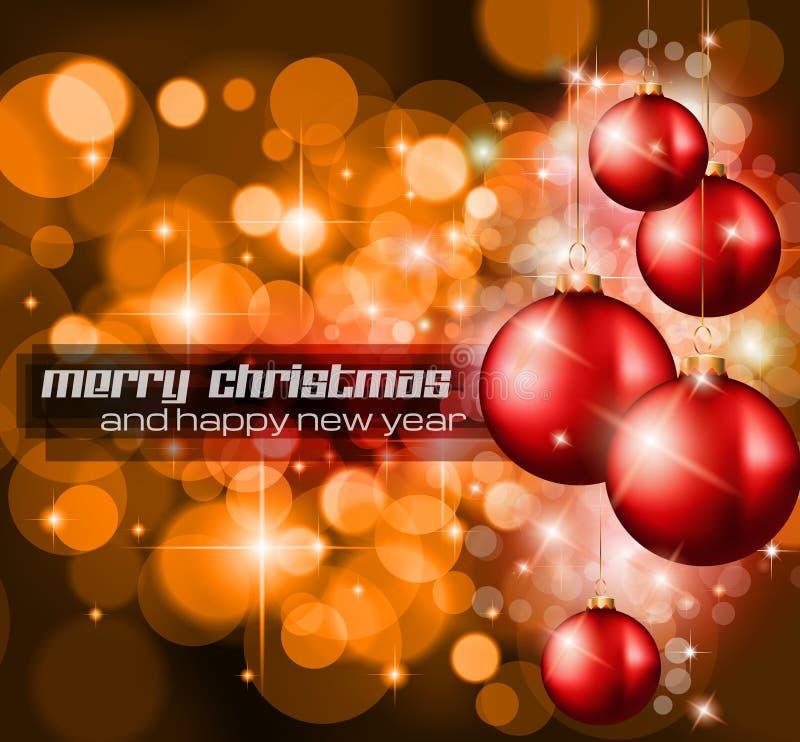 与很多光芒光的圣诞节背景 库存例证