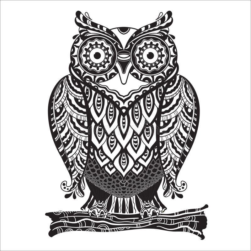与很多的传染媒介印刷品美丽的装饰猫头鹰 皇族释放例证