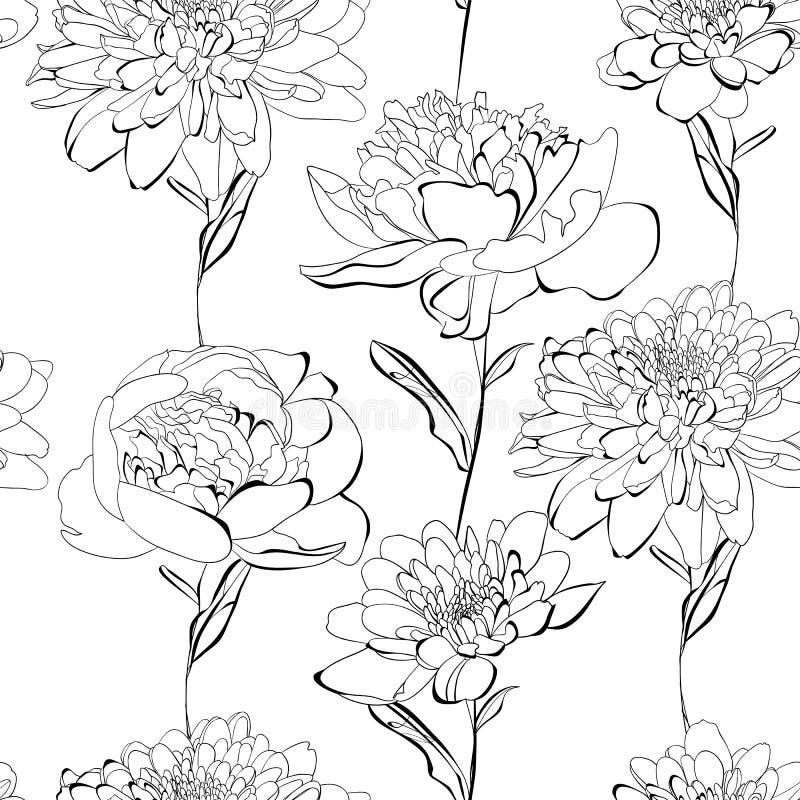 与很多花的无缝的模式 库存例证