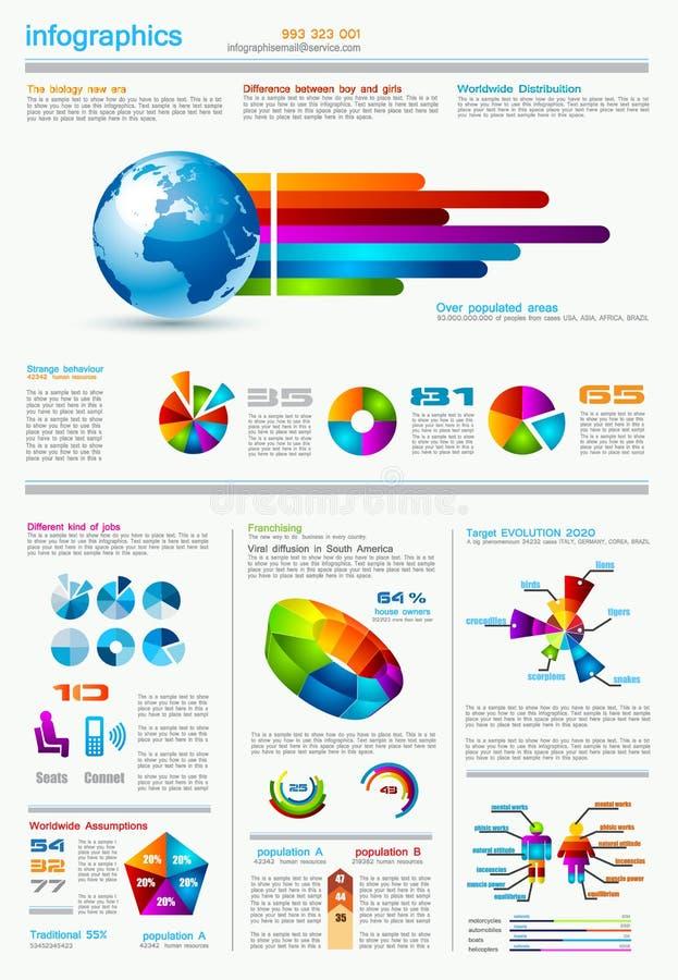 与很多设计要素的Infographics页 皇族释放例证