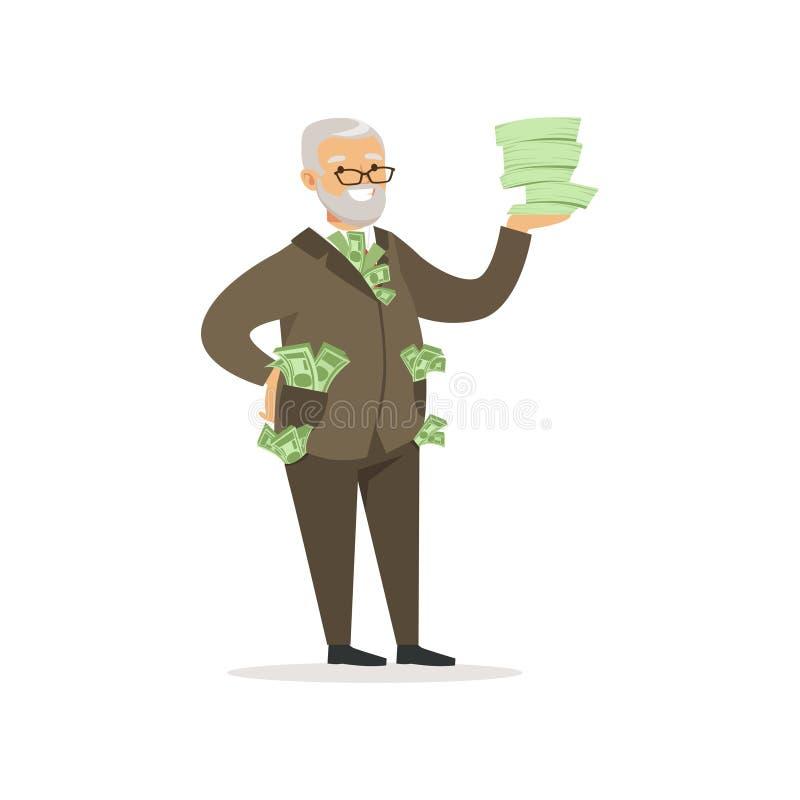 与很多金钱传染媒介例证的愉快的富有的成功的资深商人字符 库存例证