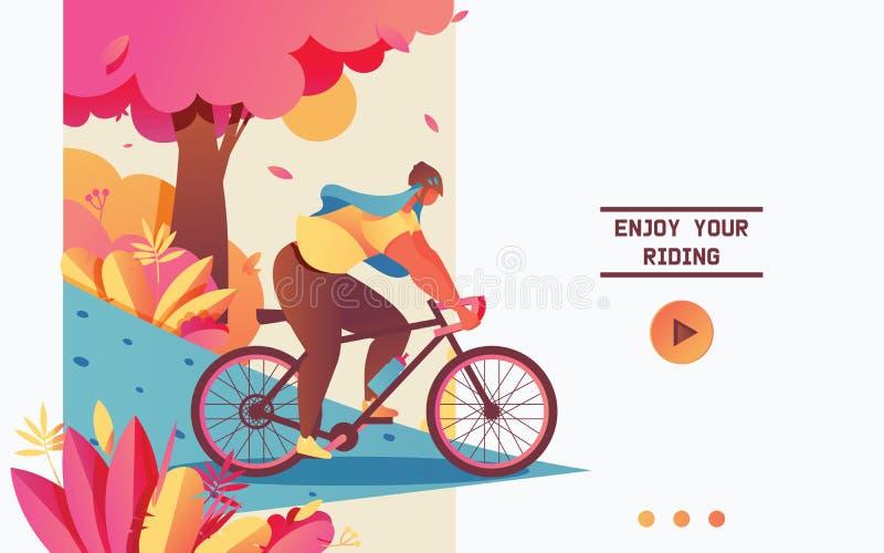 与循环自行车的年轻女人的传染媒介登陆的页概念 舞步 库存例证