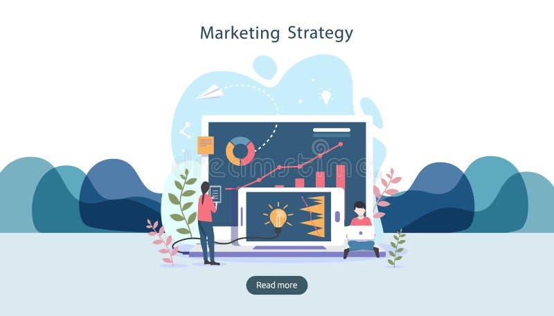 与微小的人字符,桌,在显示器的图表对象的数字营销策略概念 网上社会媒介 库存例证