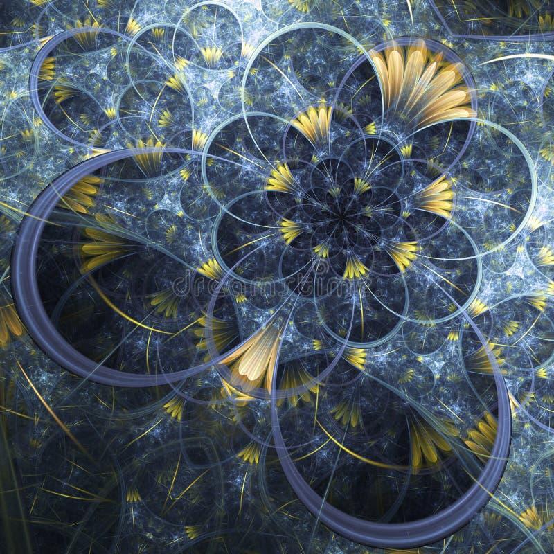 与微小的黄色花的蓝色分数维样式 向量例证