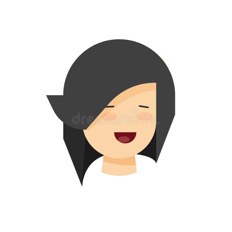 与微笑传染媒介例证,微笑年轻的女性平的动画片,快乐的情感的愉快的妇女或女孩面孔 库存例证