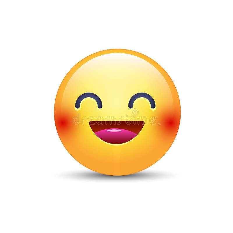 与微笑和开放眼睛的乐趣黄色动画片emoji面孔 逗人喜爱的传染媒介愉快的意思号 现实面带笑容 库存例证