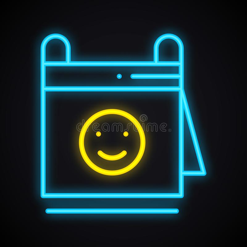 与微笑标志的霓虹日历 发光的提示 约会,日期题材 库存例证