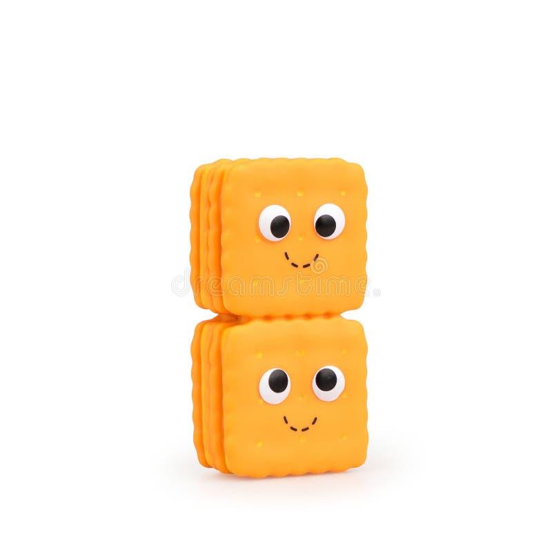 与微笑的儿童的逗人喜爱的玩具食物在白色背景 免版税图库摄影