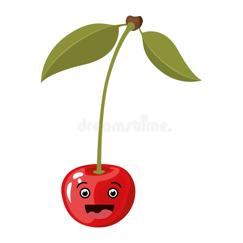 与微笑的动画片樱桃果子现实剪影的白色背景  皇族释放例证