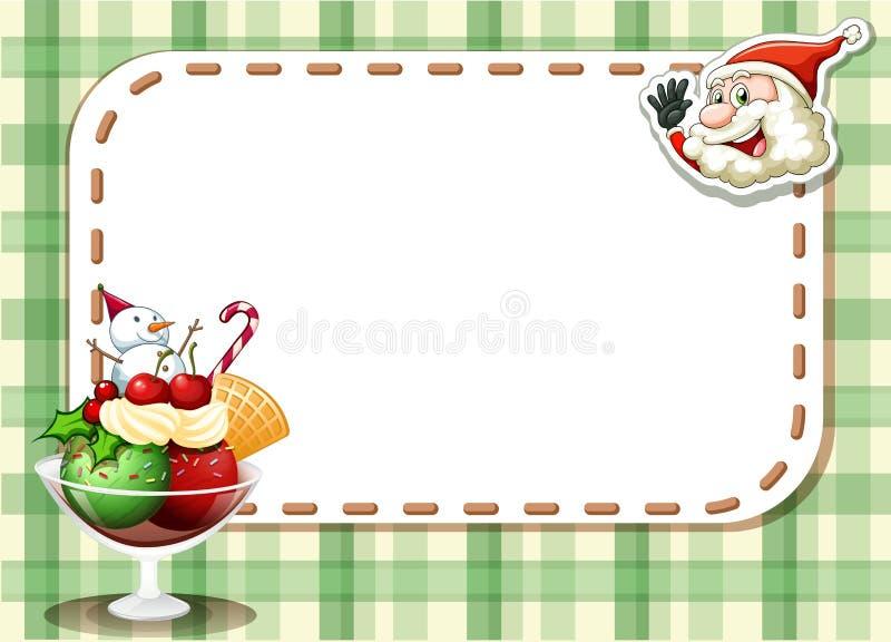 与微笑的圣诞老人的一张emtpy圣诞卡和swee玻璃  皇族释放例证
