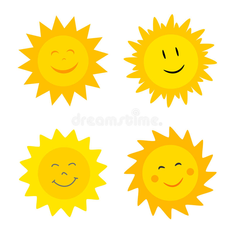 与微笑的太阳 向量例证