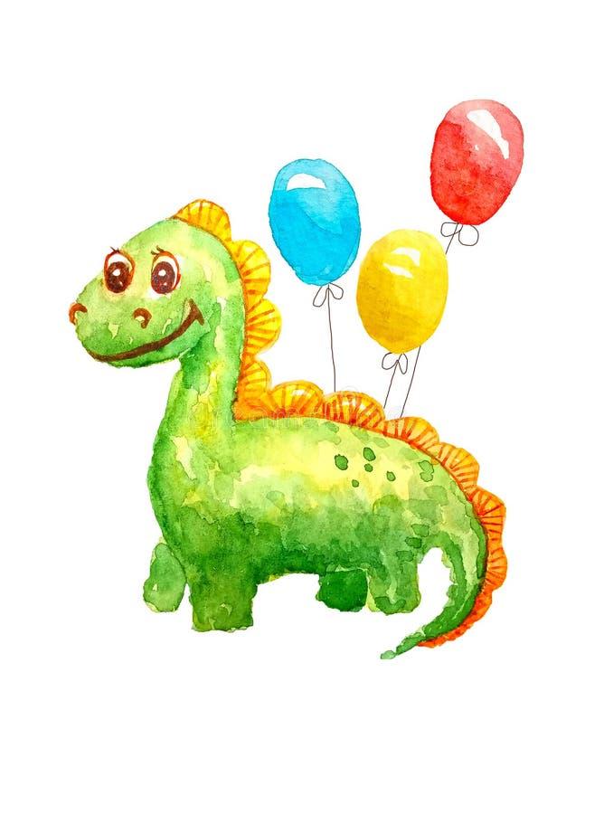 与微笑的水彩绿色亲切的动画片恐龙在被隔绝的三个胶凝体球白色背景祝贺,邀请  皇族释放例证