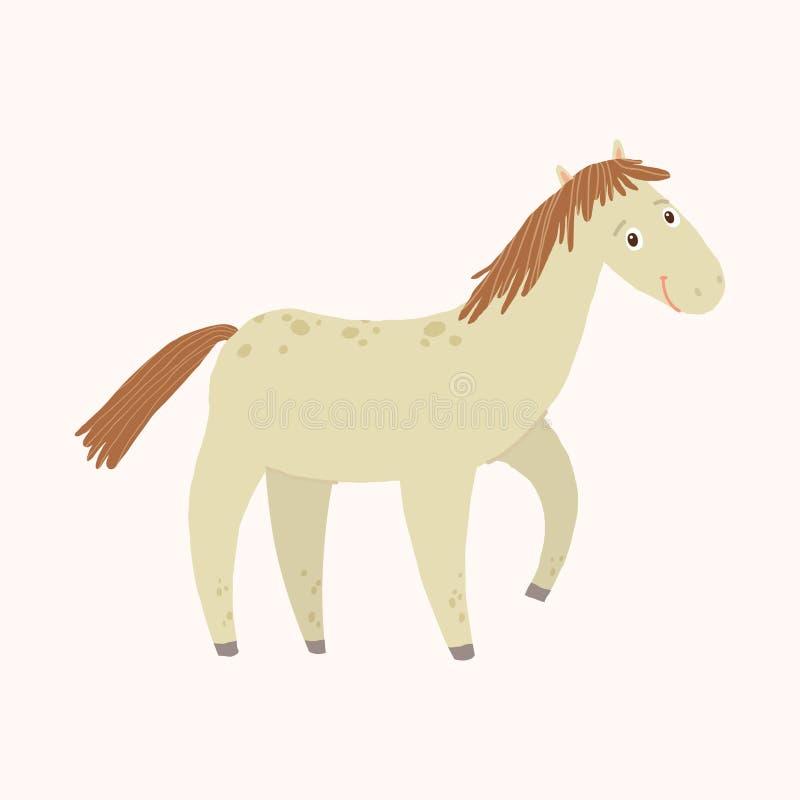 与微笑的滑稽的马 7个动物动画片农厂例证系列 在白色背景隔绝的动画片传染媒介手拉的eps 10例证 库存例证