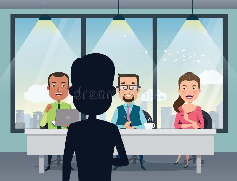 与微笑的白种人人力资源经理、专家和一个上司的工作面试在办公室 天分搜寻试演 库存例证