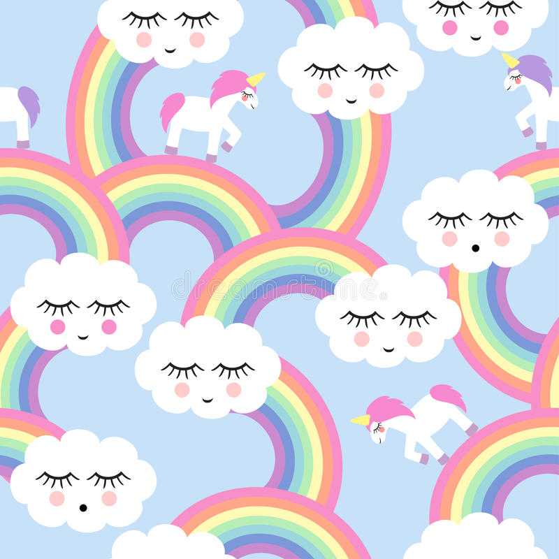 与微笑的睡觉云彩和彩虹的无缝的样式 皇族释放例证
