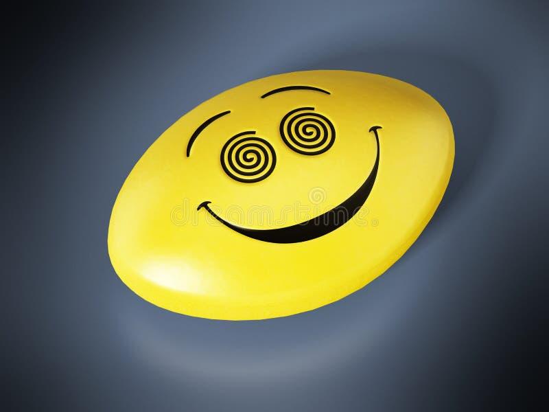 与微笑的面孔的抗抑郁剂药片 3d例证 库存例证