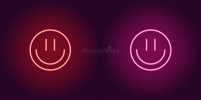与微笑,发光的标志的霓虹emoji 适应图标 库存例证
