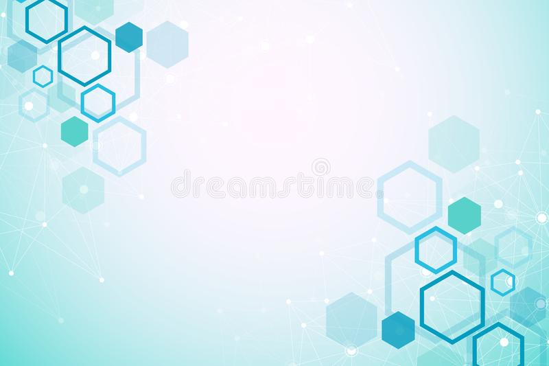与微粒的分子结构 科学的医学研究 科学技术backgroud 分子的概念 皇族释放例证