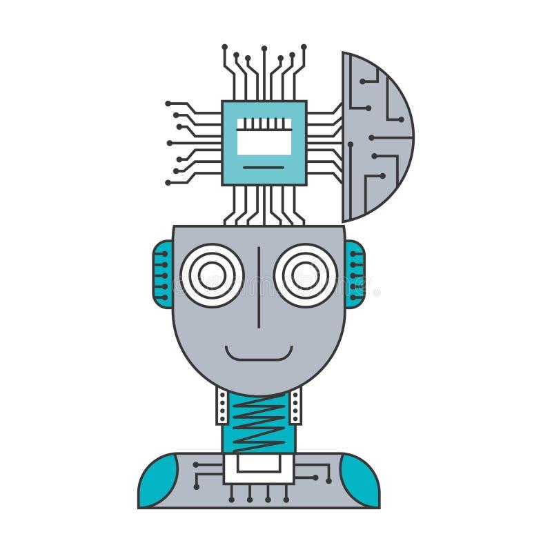 与微集成电路被隔绝的象的机器人类人动物 向量例证