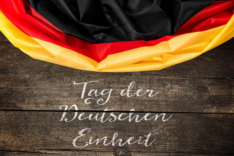 与德国文本的德国旗子为德国团结天 免版税库存图片