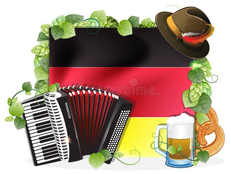 与德国旗子的慕尼黑啤酒节背景 库存例证