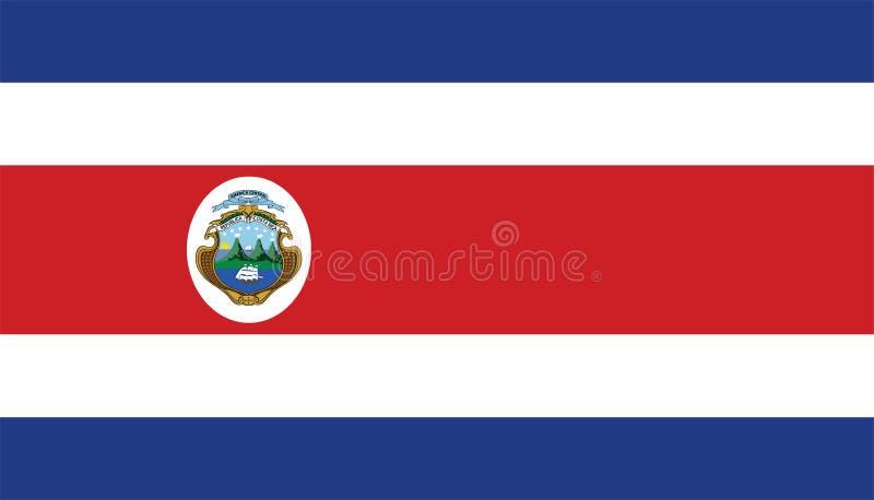 与徽章的哥斯达黎加旗子 向量例证